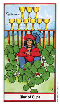Nine of Cups Tarot Card - Herbal Tarot Deck