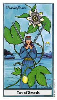Two of Wind Tarot Card - Herbal Tarot Deck