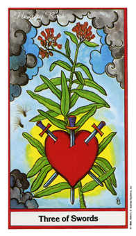 Three of Arrows Tarot Card - Herbal Tarot Deck
