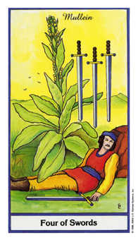 Four of Bats Tarot Card - Herbal Tarot Deck