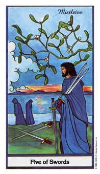 Five of Wind Tarot Card - Herbal Tarot Deck