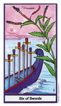 Six of Swords Tarot Card - Herbal Tarot Deck