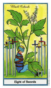 Eight of Swords Tarot Card - Herbal Tarot Deck