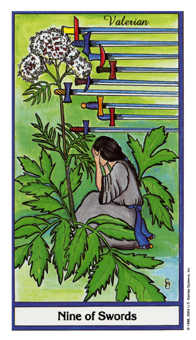 Nine of Arrows Tarot Card - Herbal Tarot Deck