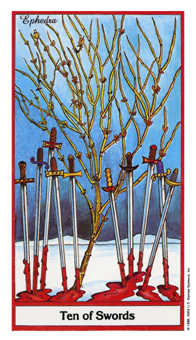 Ten of Arrows Tarot Card - Herbal Tarot Deck