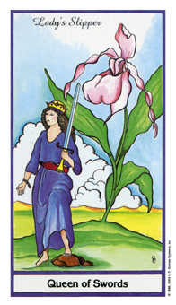 Reine of Swords Tarot Card - Herbal Tarot Deck