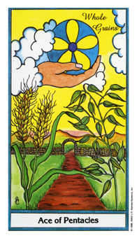 Ace of Pentacles Tarot Card - Herbal Tarot Deck