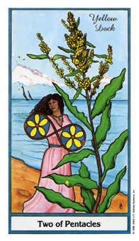 Two of Pentacles Tarot Card - Herbal Tarot Deck