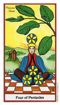 Four of Coins Tarot Card - Herbal Tarot Deck