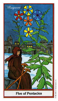 Five of Pentacles Tarot Card - Herbal Tarot Deck