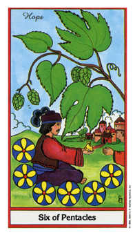 Six of Pentacles Tarot Card - Herbal Tarot Deck