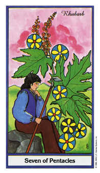 Seven of Discs Tarot Card - Herbal Tarot Deck