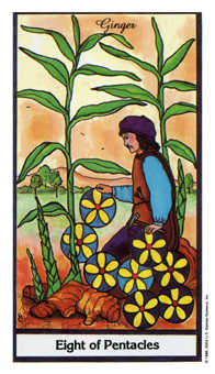 Eight of Coins Tarot Card - Herbal Tarot Deck