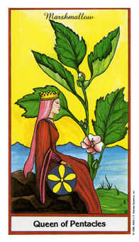 Queen of Coins Tarot Card - Herbal Tarot Deck