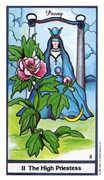 The High Priestess Tarot card in Herbal deck