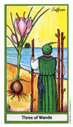 Three of Wands Tarot card in Herbal deck