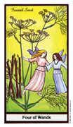 Four of Wands Tarot card in Herbal Tarot deck