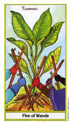Five of Wands Tarot card in Herbal Tarot deck