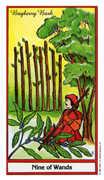 Nine of Wands Tarot card in Herbal Tarot deck