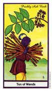 Ten of Wands Tarot card in Herbal Tarot deck
