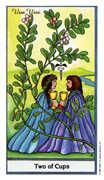 Two of Cups Tarot card in Herbal Tarot deck