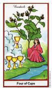 Four of Cups Tarot card in Herbal Tarot deck