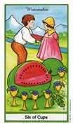 Six of Cups Tarot card in Herbal Tarot deck