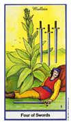 Four of Swords Tarot card in Herbal deck
