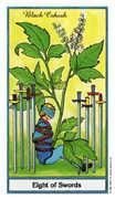 Eight of Swords Tarot card in Herbal deck