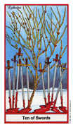 Ten of Swords Tarot card in Herbal deck