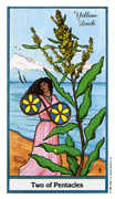 Two of Coins Tarot card in Herbal deck