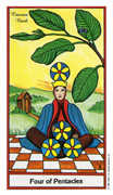 Four of Coins Tarot card in Herbal deck
