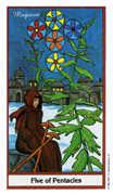 Five of Coins Tarot card in Herbal Tarot deck