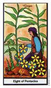 Eight of Coins Tarot card in Herbal Tarot deck