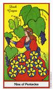 Nine of Coins Tarot card in Herbal deck