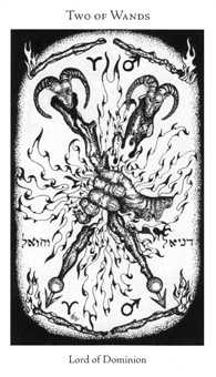 Two of Batons Tarot Card - Hermetic Tarot Deck
