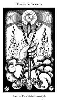 Three of Batons Tarot Card - Hermetic Tarot Deck