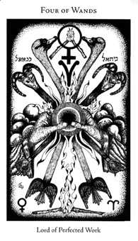 Four of Staves Tarot Card - Hermetic Tarot Deck