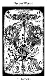 Five of Staves Tarot Card - Hermetic Tarot Deck