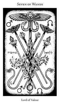 Seven of Rods Tarot Card - Hermetic Tarot Deck