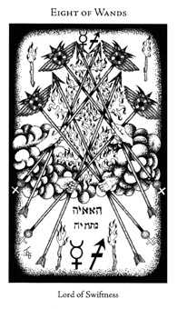 Eight of Rods Tarot Card - Hermetic Tarot Deck