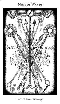 Nine of Staves Tarot Card - Hermetic Tarot Deck