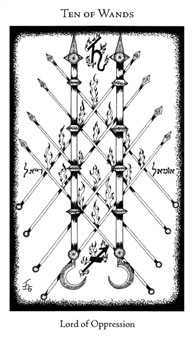 Ten of Staves Tarot Card - Hermetic Tarot Deck