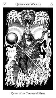Queen of Rods Tarot Card - Hermetic Tarot Deck