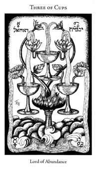 Three of Hearts Tarot Card - Hermetic Tarot Deck