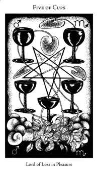 Five of Hearts Tarot Card - Hermetic Tarot Deck