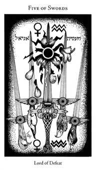 Five of Spades Tarot Card - Hermetic Tarot Deck