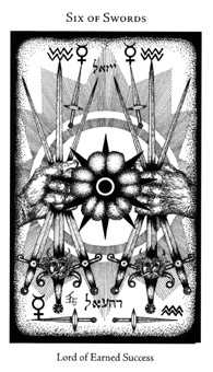 Six of Bats Tarot Card - Hermetic Tarot Deck
