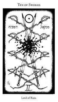 Ten of Arrows Tarot Card - Hermetic Tarot Deck