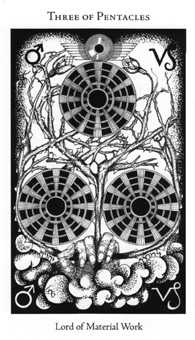 Three of Coins Tarot Card - Hermetic Tarot Deck